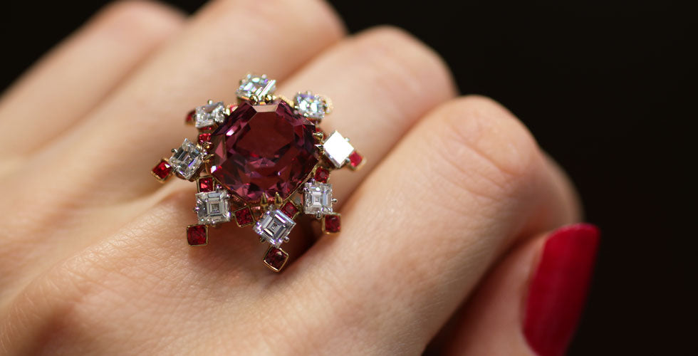 IVY New York ring with 11.24 cts pink spinel, red spinels and diamonds