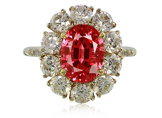 IVY New York ring with red spinel and diamonds