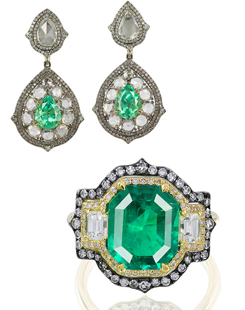 IVY New York earrings and a ring with emeralds and diamonds