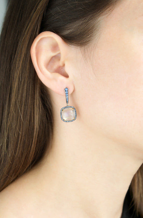 Moonstone and Blue Sapphire Earrings