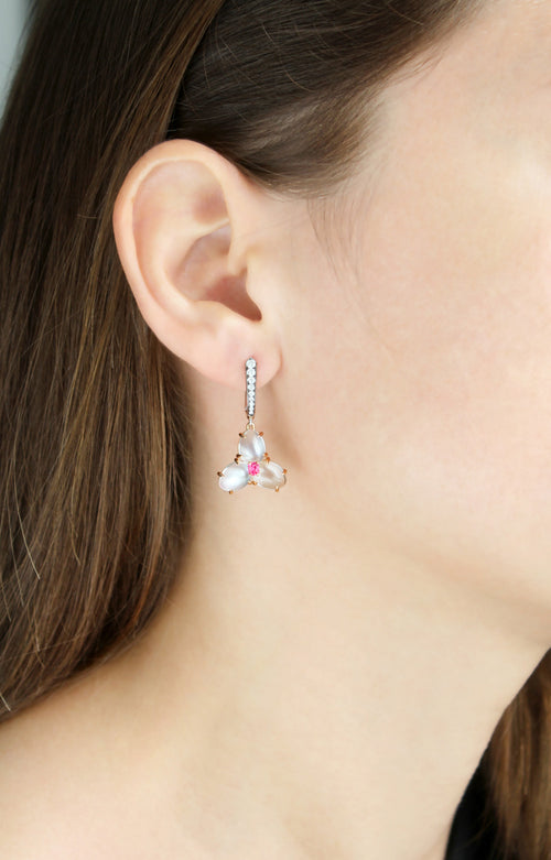 Moonstone Spinel and Diamond Earrings