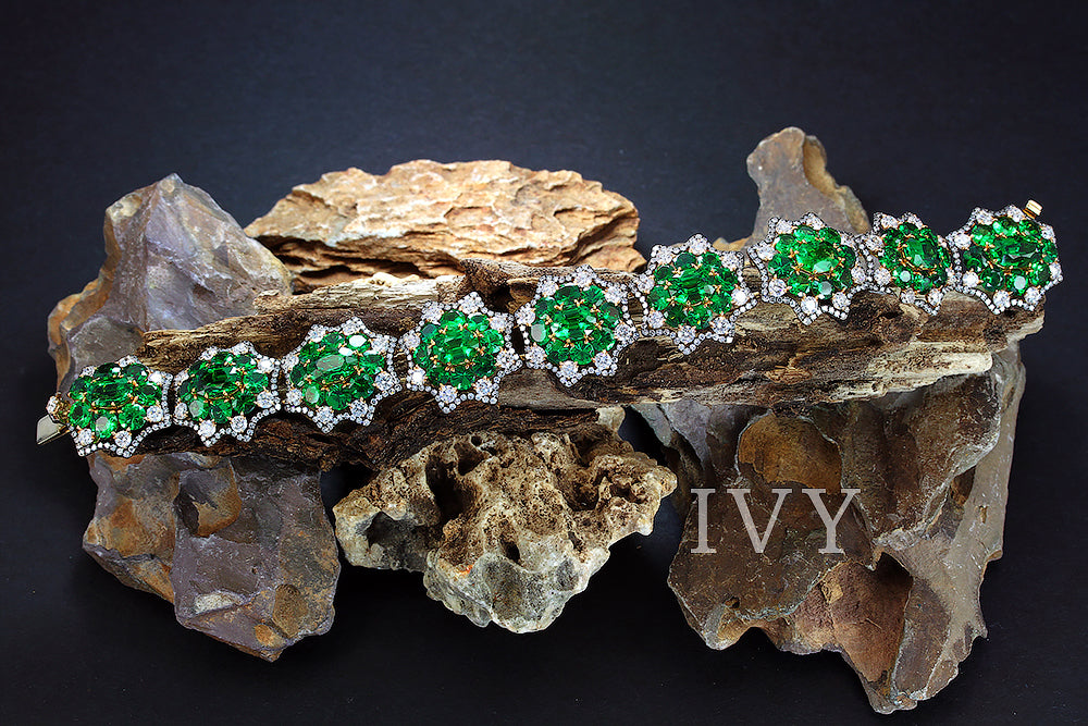 Tsavorite and Diamond Bracelet