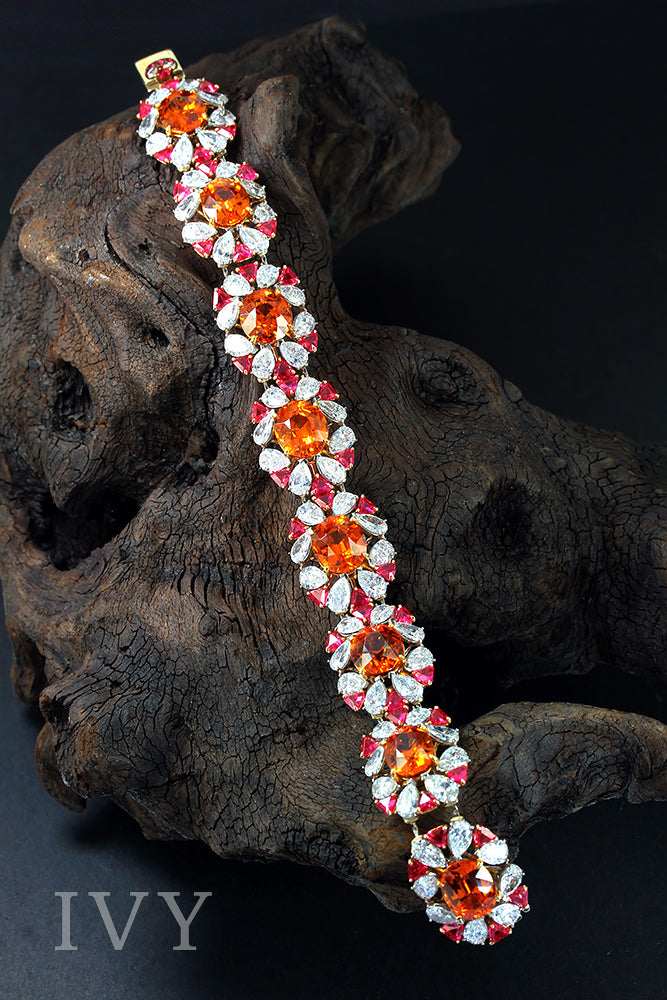 Mandarin Garnet, Red Spinel and Diamond Bracelet