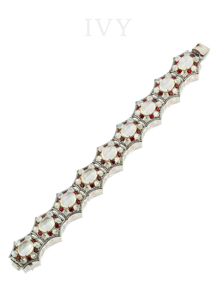 Moonstone, Ruby and Diamond Bracelet