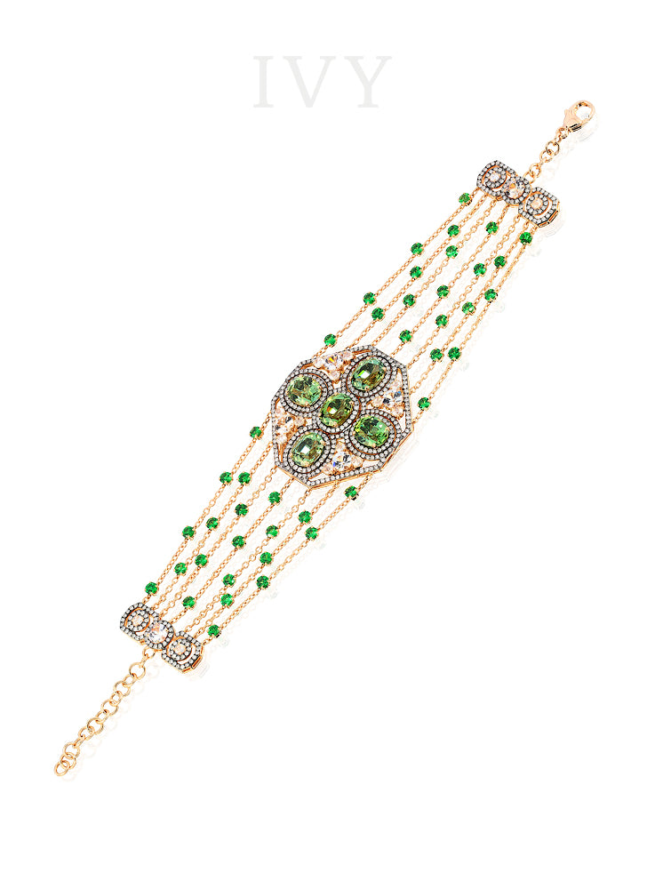 Tourmaline, Tsavorite, Spinel and Diamond Bracelet