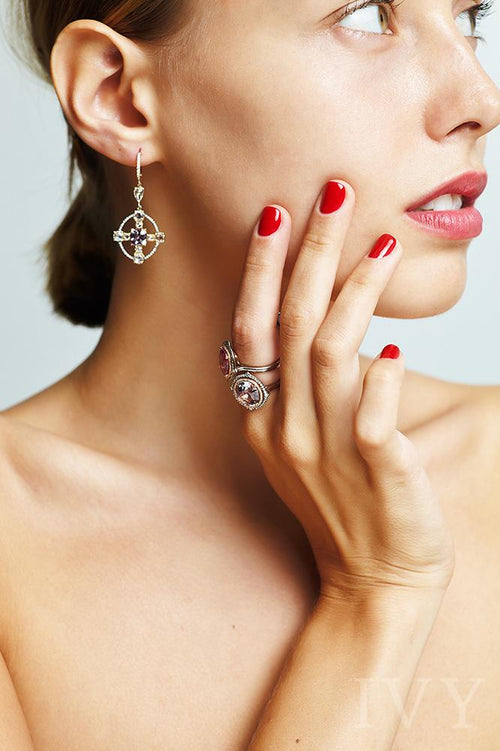 Grey Spinel and Diamond Ring