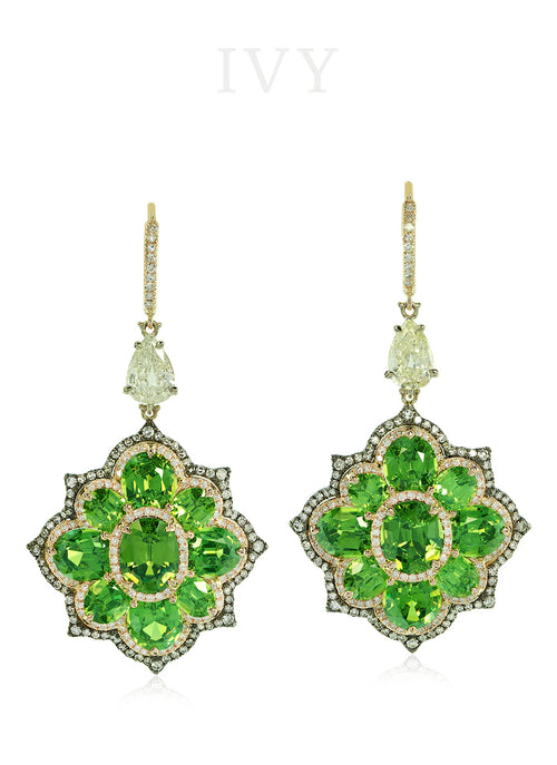 Demantoid and Diamond Euryalina Earrings