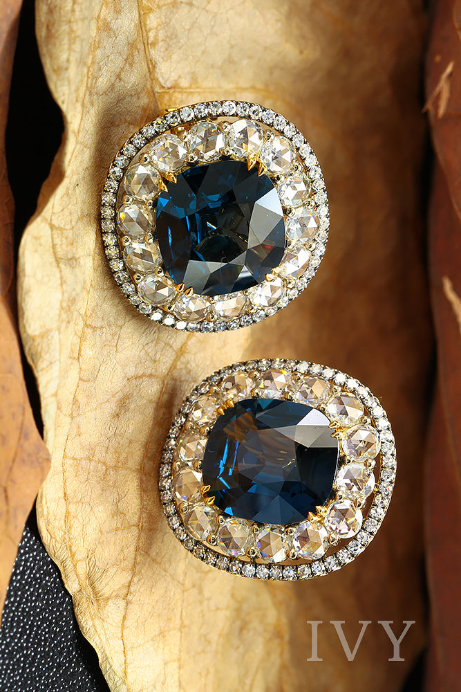 Blue Spinel and diamond earrings