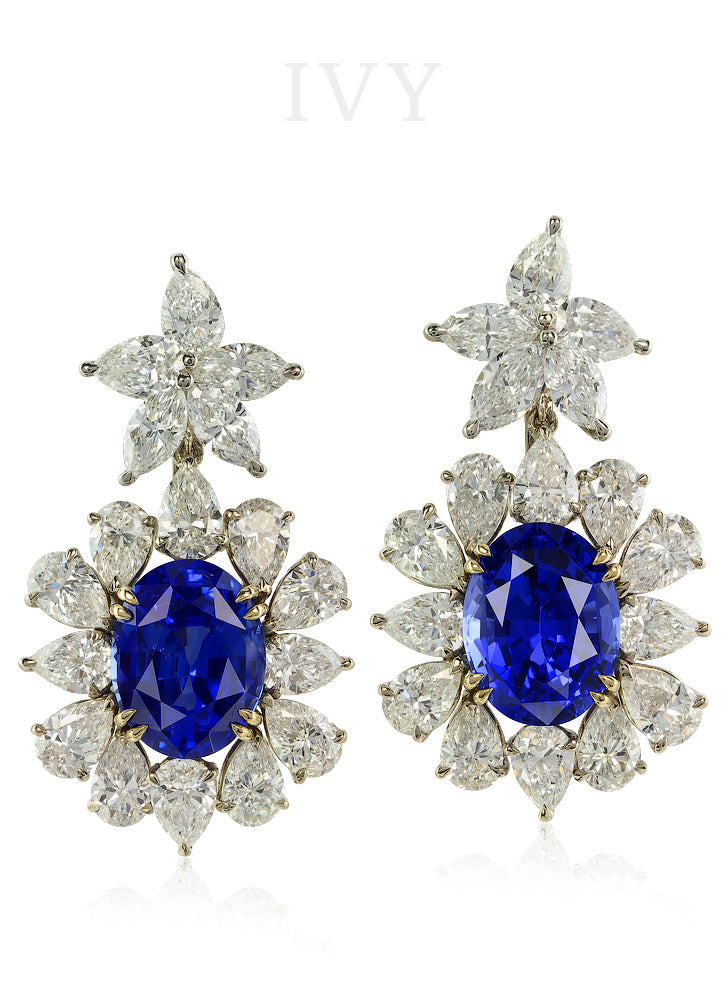 Dancing Stars Blue Sapphire and Diamond Earrings
