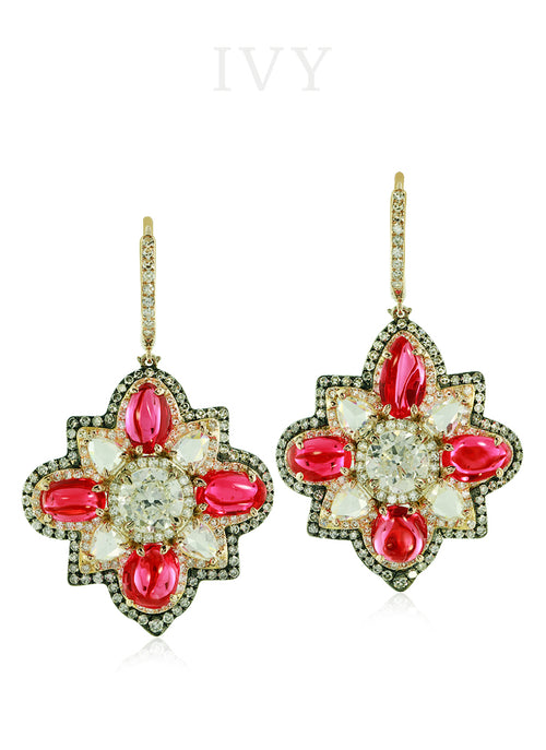 Spinel and Diamond Earrings