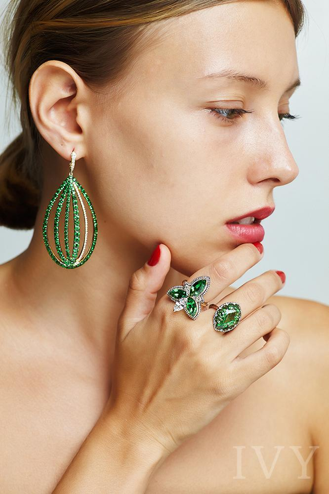 Tsavorite and Diamond Cage Drop Earrings
