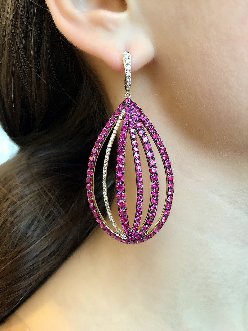 Ruby and Diamond Cage Drop Earrings