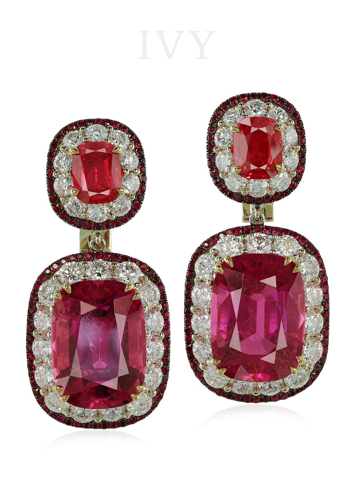 L'amoureuse Earrings with Rubellite, Red Spinel and Diamond