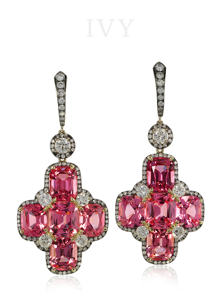 Spinel and Diamond Cross Earrings