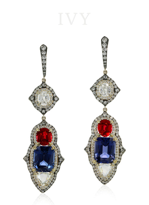 Red & Blue Spinel and Diamond Tricolore Earrings