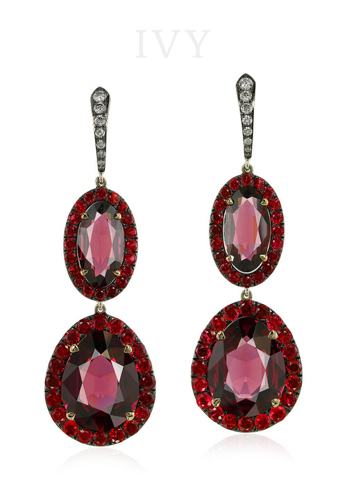 Rhodolite, Spinel and Diamond Earrings