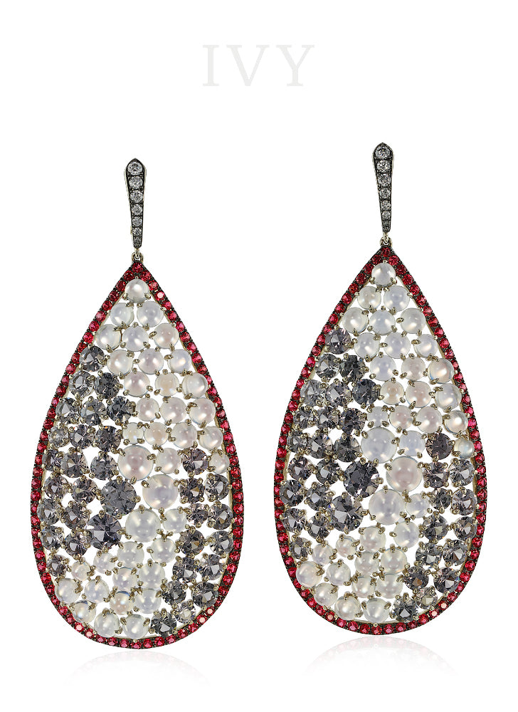 Spinel, Moonstone and Diamond Earrings