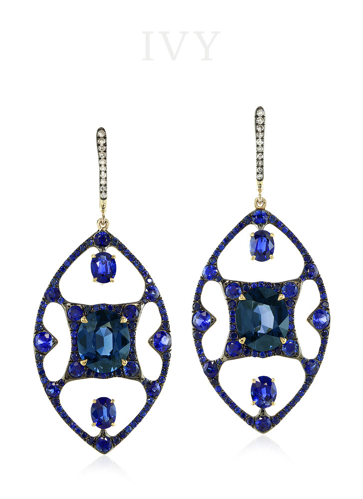 Iolite and Diamond Sigil Earrings