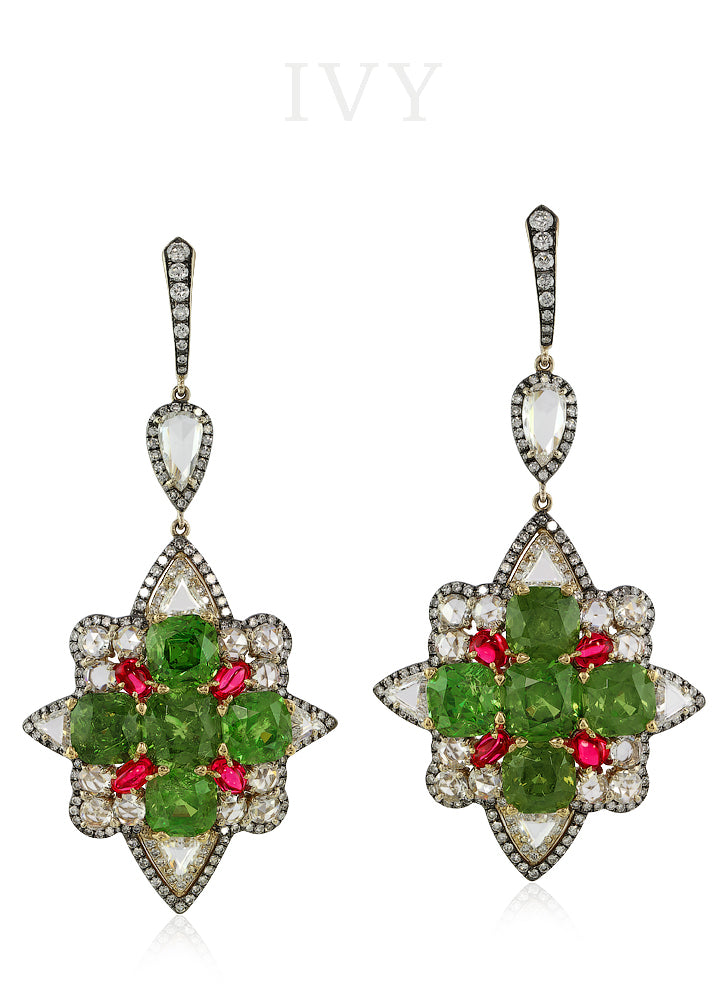 Demantoid and Diamond Earrings