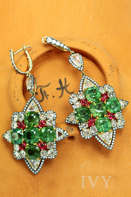 Demantoid, Spinel and Diamond Earrings