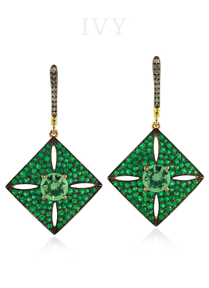 Tourmaline, Emerald and Diamond Earrings