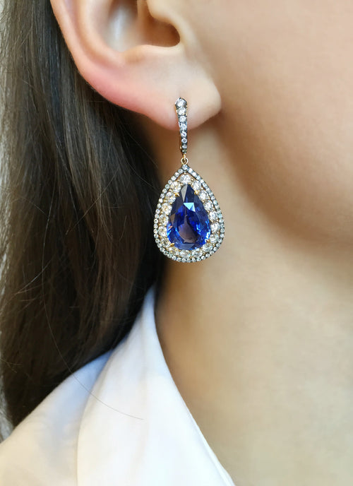 Blue Sapphire No Heat, Tsavorite and Diamond Earrings