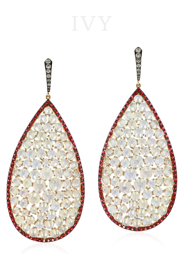 Moonstone, Spinel and Diamond Earrings