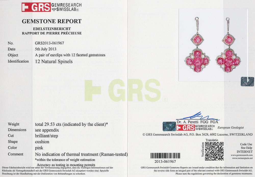 Pink Spinel and Diamond Cross Cushion Earrings