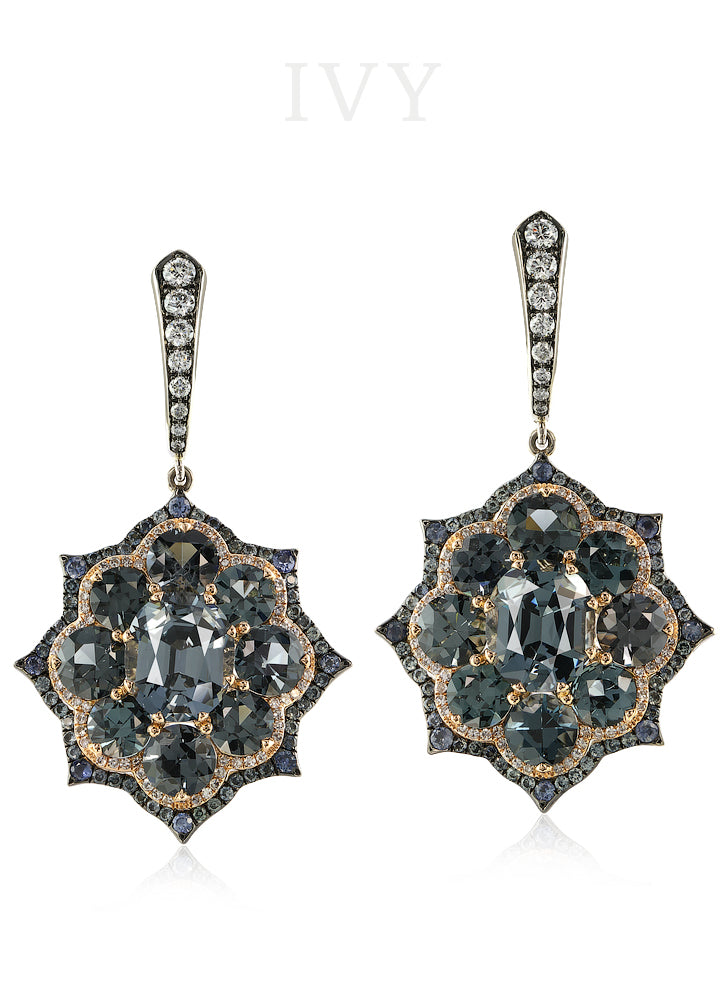 Grey Spinel and Sapphire Euryalina Earrings