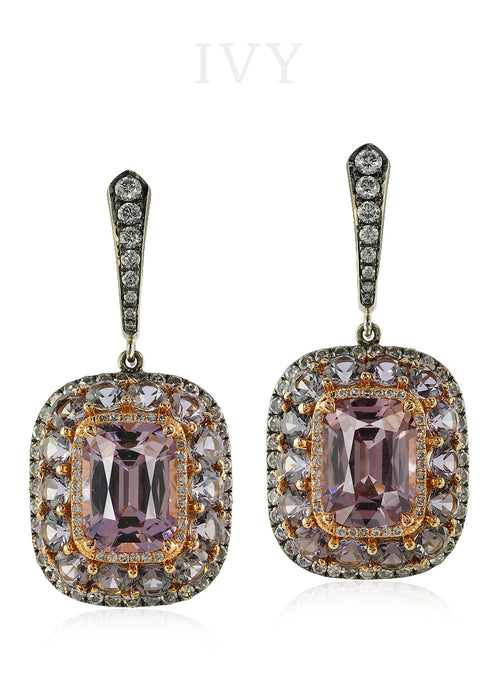 Lavender Spinel and Diamond Valencia Earrings