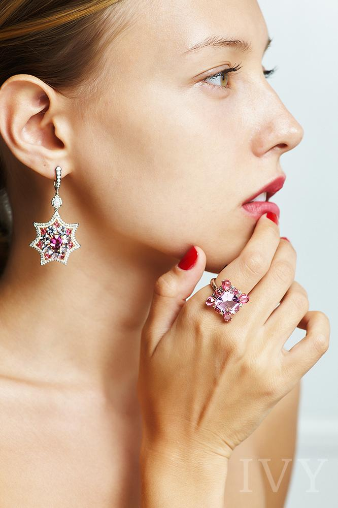 Rhodolite, Spinel and Diamond Star Earrings