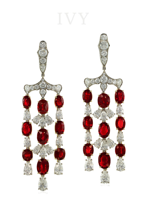 The Royal Trident Earrings with Ruby and Diamond