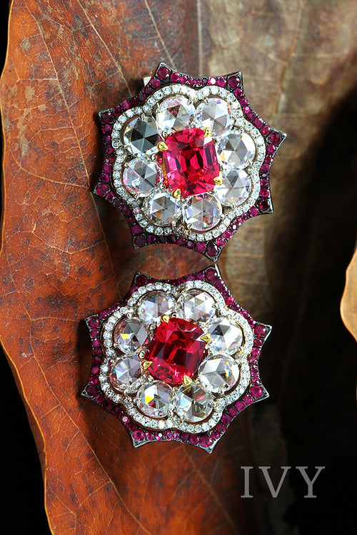 Red Spinel, Ruby and Diamond Earrings
