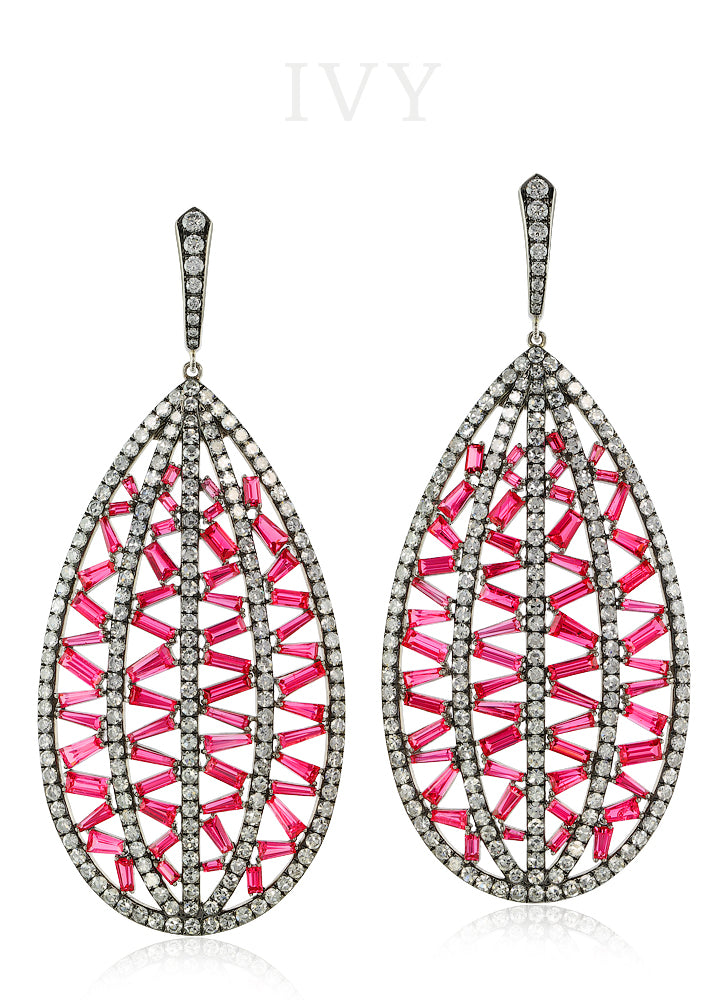 Spinel and Diamond Stitched Earrings