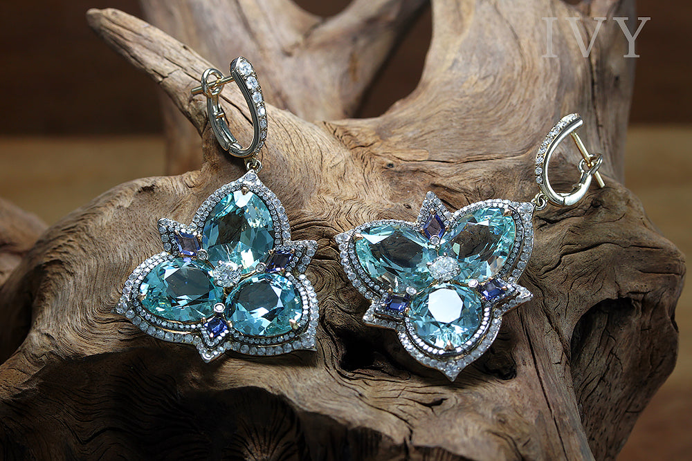 Aquamarine Swan Dance Earrings