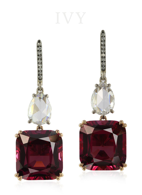 Burgundy Spinel Burma and Diamond Earrings