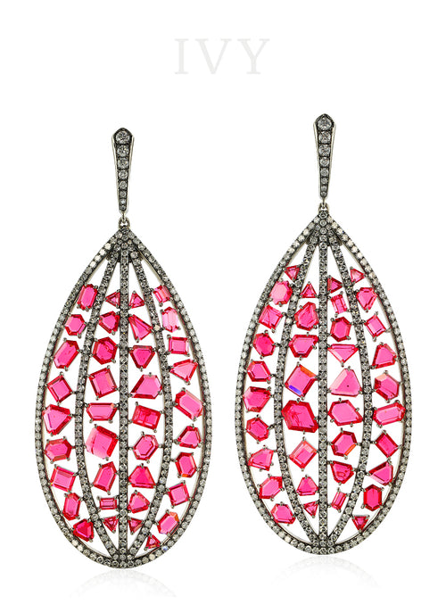 Pink Spinel Mansin and Diamond Stitched Earrings