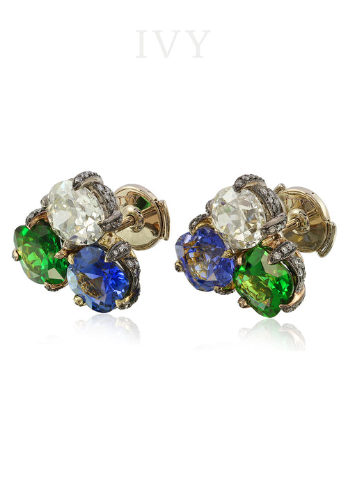 Tsavorite, Sapphire and Diamond Earrings