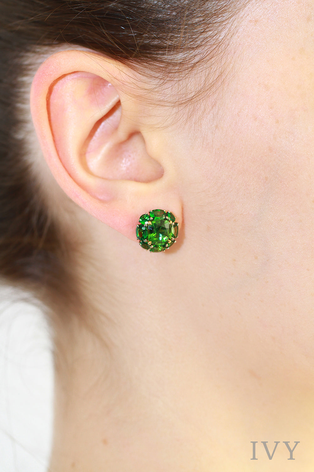 Tsavorite and Tourmaline Full Circle Earrings