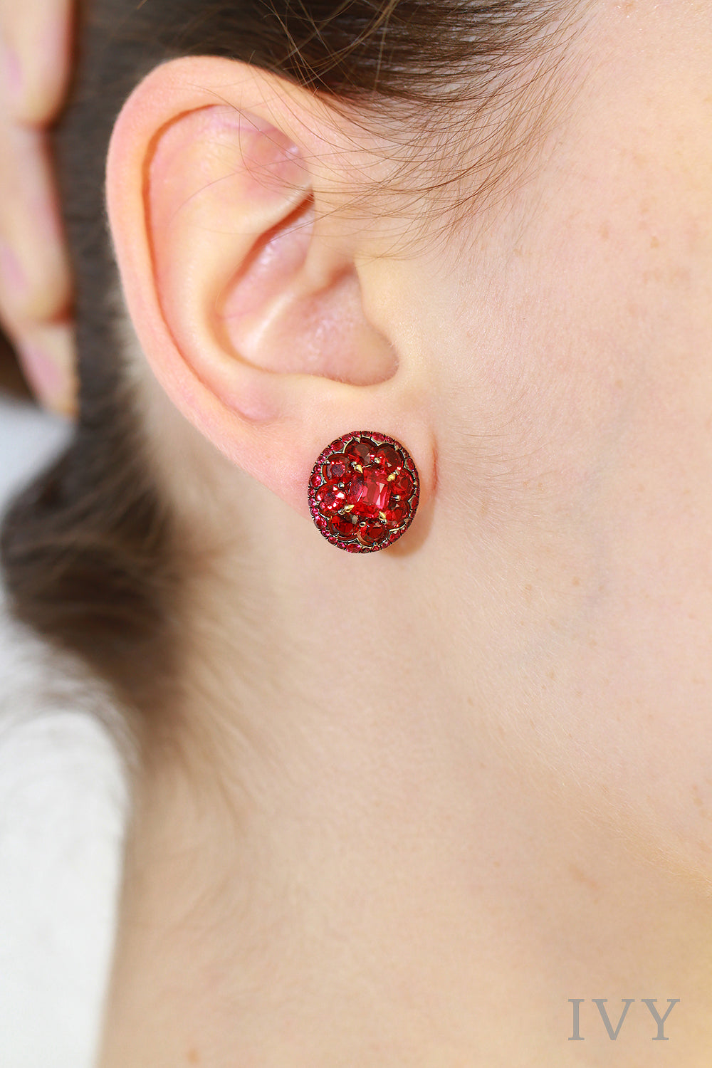 Red Spinel Eclipse Earrings