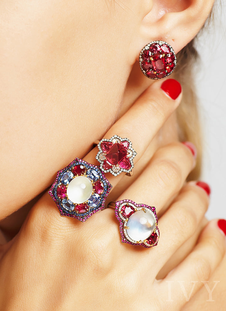 Moonstone, Ruby and Blue Sapphire Tricolor Ring