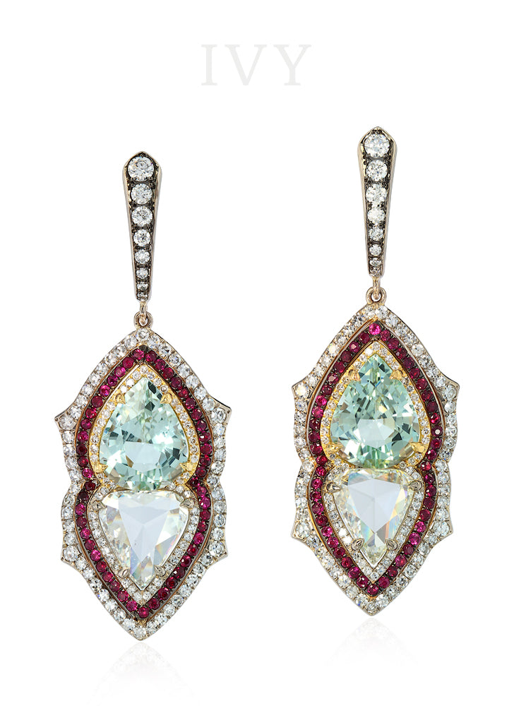 Gemini Earrings with Aquamarines, Rubies and Diamond