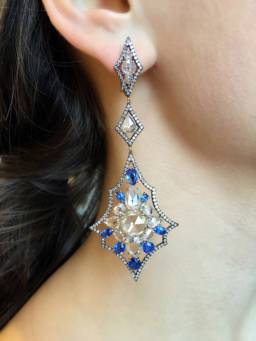 Cobalt Blue Spinel and Diamond Earrings