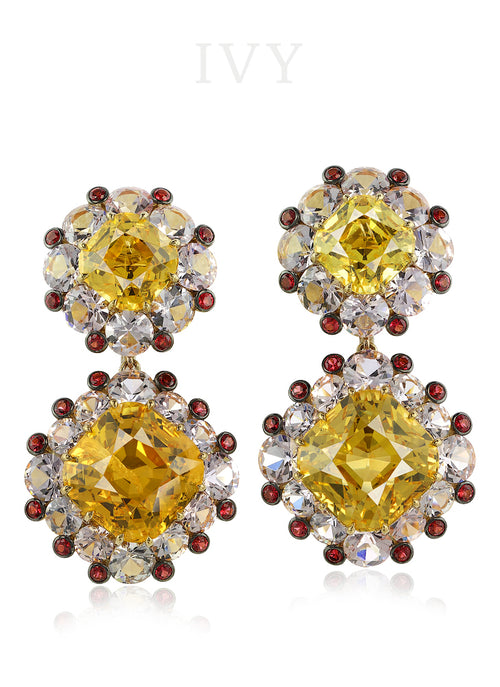 Danburite, Spinel and Diamond Earrings