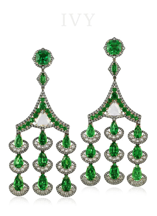 Tsavorite and Diamond Earrings