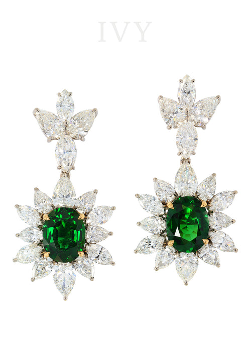 L' Ange du Soleil Earrings with Chrome Tourmaline and Diamond