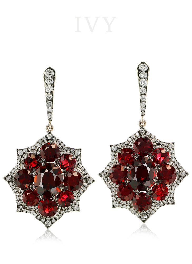 Spinel and Spessartite Euryalina Earrings