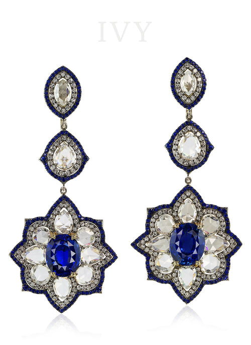 Ceylon Blue Sapphire and Diamond Earrings