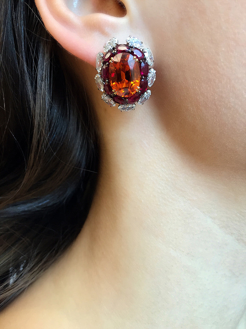 Mandarin Garnet, Ruby and Diamond Earclips