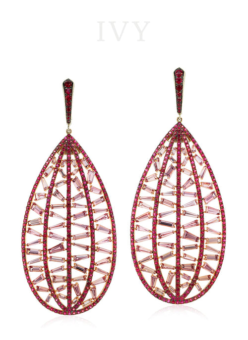 Pink Spinel and Ruby Stitched Earrings